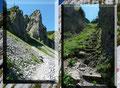 Anfangs durch Latschengassen, dann über Geröll führte mich der Wegverlauf in einem weiten Rechtsbogen an den Fuß der Schlucht heran. Holztreppen mit kurzer Seilsicherung durch schroffen Felsen und …