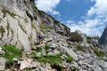 Das pittoreske Seeleinseelein hinter uns gelassen führte der weiß-rot punktiert markierter Steig über Felsblöcke steil zur nächsten Stufe empor.