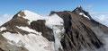 … auf die benachbarte Klockerin (3422m), den Bratschkopf (3413m) & den zweithöchsten Gipfel des Salzburger Landes, das erst kürzlich bestiegene Große Wiesbachhorn (3564m).