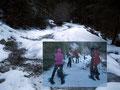 """Die Schneeauflage wurde jetzt zum Glück etwas mehr, somit konnten wir unsere Schneeschuhe vom Rücken auf die Füße verlagern. Aber noch immer waren wir PAFF! Bis auf etwa 1400m Seehöhe mussten unsere """"Watschler"""" am Rucksack getragen werden."""