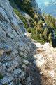 … gelangte nunmehr wieder auf die sonnige Seite des Berges.   Stahlstifte und  Drahtseile erleichterten hier einem den weiteren Abstieg über den Markussteig.