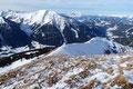 Nach einer ausgiebigen Gipfelrast auf diesem wirklich empfehlenswerten Aussichtsgipfel über dem Gullingtal machte ich mich wieder auf den Weg zurück zum Schneeschuhdepot.
