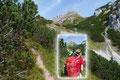 """Rudolf und Angela bei einer kurzen Fotopause. Vor uns der sehr imposante Gipfelaufbau des """"Kammspitz (2139m)""""."""