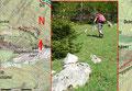 Anschließend suchte ich den Waldrand oberhalb der Hütte nach eventuellen Steinmännchen oder anderen Hinweiszeichen auf den Jagasteig ab. Schnell wurde ich auch fündig! Wir visierten den vermutlichen, in nördlicher Richtung befindlichen Steigbeginn an.