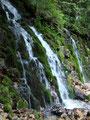Bei diesem romantisch anzusehenden kleinen Wasserfalles zweigte der Wandersteig rechts ab.