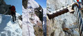 Bevor wir uns jedoch an der geglückten Besteigung erfreuen konnten, musste noch eine allerletzte, ganz enge mit Trittstiften und Drahtseil versicherte Passage oberhalb der bekannten, brachial abfallenden Dachstein-Südwand überwunden werden.
