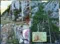 Am unteren Ende der Rinne boten sich wiederum zweierlei Möglichkeiten. Entweder rechts entlang der Drahtseile an der Felswand, oder man wählt die Route über die 135 Sprossen. Meine Entscheidung stand jedenfalls bereits fest – entlang der Felswand!
