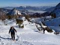 Gipfelaufschwung des Weißhorns. Im Hintergrund der Rauhkogel.