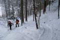 Der Wegverlauf zog sich nun anfangs in Kehren, dann einen Art Hohlweg durch bewaldetes Terrain höher. Über die geringe Schneedecke in diesem ansonsten schneesicheren Gebiet waren eigentlich alle ein wenig überrascht.