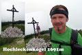 … benachbarten Hochleckenkogel (1691m) fort. Ein Posieren beim Gipfelwahrzeichen durfte natürlich nicht fehlen. Anschließend leitete uns der Pfad bergab zur Weggabelung unterhalb des Jagerköpfl.