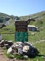 Nach einem einstündigen Fußmarsch standen wir urplötzlich wiederum vor einem solch urigen Schild mit dem Hinweis zur Giglachseehütte.