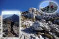 Mit dem riesigen Bergmassiv im Rücken wanderten wir talwärts. Und während andere Bergwanderer diese heiklen Passagen noch vor sich hatten oder mitten drinnen waren …
