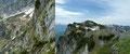 Vom Geiereck-Gipfel konnte man die etwa 300m tiefer liegende Toni-Lenz-Hütte bestens ausfindig machen. Das Gipfelkreuz des 48m höheren Salzburger Hochthron beherrschte den Blick in südlich Richtung. Auch dort tummelte sich schon eine Menschenmenge.