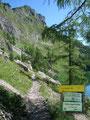 Auf der linken Seeseite führte der Weg weiter in Richtung der sogenannten Elmgrube und in 1 ¼ Std. zur Pühringer Hütte.