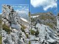 Schon bei der Umrundung war uns aufgefallen, dass auch dieser 2211m hohe Gipfel mit einem Kreuz geschmückt war. Lt. Karte wieder nicht! Also gut, für Gipfelstürmer einfach ein Muss! Hatten wir vorher den Anstieg über die Schlumscharte ausgelassen, so …