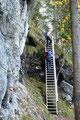 ... zur ersten Leiter dieses Klettersteiges. Ohne Probleme stiegen wir diese empor.