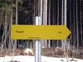 """Gleich zu Beginn der erste Wegweiser Richtung """"Plesch"""". Wir folgten fortan immer dem Wanderweg 631."""