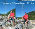 Der seilversicherte 36m kurze Klettersteig drehte sich auf die SO-Seite und leitet den luftigen Grat zum Witzmanikreuz auf 1416m Seehöhe hinauf. Natürlich durfte ein Foto vom höchsten Punkt des Hausberges der Hütte auch nicht fehlen!
