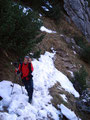 In Serpentinen ging es immer weiter dem Gipfel entgegen. Der pickelharte Schnee erleichterte den Aufstieg nicht gerade. Das Ganze war etwas rutschig und könnte noch zu einem Problem werden.