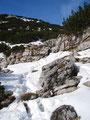 Über Schneefelder und Felsen ...