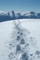 … zum Gipfel des Einbergs. Wir trauten unseren Augen kaum! Ein weiterer Schneeschuhwanderer näherte sich dem einsamen Gipfelziel. Nach einem kurzen Wortwechsel bedankte sich der bayrische Wanderer für die Spurarbeit. Er machte erst mal Pause und …