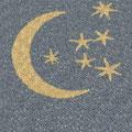Symbol/Zeichen Mond und Sterne aus gelbem Quarzsplitt