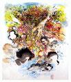 Terre lourde- 2014 - 43 x 50 - Encres sur papier marouflé
