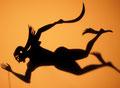Perseus flies to look for Medusa with the help of the magic slippers given to him by Hermes/Persée vole à la recherche de la Méduse à l'aide des pantoufles que  Hermès lui a offerts.