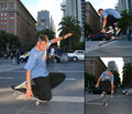 San Francisco, Downtown. Tricks: Knee-Spacewalk / Ollie-Fingerflip / Ollie-Airwalk.
