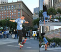San Francisco, Downtown. Tricks: No-Hand-50/50 / One-Arm-Handstand / Rail-Handstand.