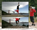 Golden Gate Bridge. Guenter Mokulys, One-Armed-Handstand, Rococo-Flip.