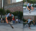 San Francisco, Downtown. Tricks: Fingerflip / 50/50 / Impossible.