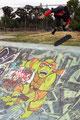 Skatepark Palo Alto. Guenter Mokulys, Ollie Fingerflip.