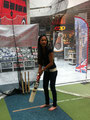 Rekha Datta trying her hand at batting