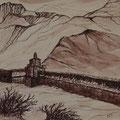 Manimauer in Gemi, 40x40 m.P., Tusche auf Papier