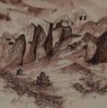 Felsenkloster Lori Gompa, 40x40 m.P., Tusche auf Papier