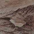 Gosainkundsee in Langtang, 19x19, Tusche auf Papier