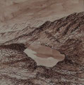 Gosainkundsee in Langtang, 40x40cm m.P., Tusche auf Papier