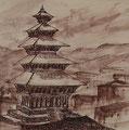 In Bhaktapur, 19x19, Tusche auf Papier