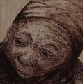Nepalesin, 40x40cm m.P., Tusche auf Papier