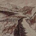Flußtal Kali Gandaki, 40x40cm m.P., Tusche auf Papier