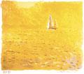 「午後」30.5X25cm  紙質アルシェ・リトグラフ一色刷り+手彩色(製版・刷り:藤岡慎先生)
