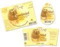 Déclinaison Graphique sur différentes formes d'étiquettes pour Butimiel