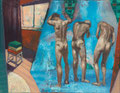 three nude men and harmless towels . 30 x 40cm . oil . 2011