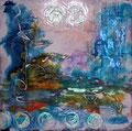 """""""Crépuscule sur le Lac"""" Acrylique et encre sur toile 60 x 60 cm"""
