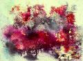 """""""La Forêt Imaginaire""""  Encre et aquarelle sur toile 80 x 60 cm"""