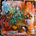 """""""LES PORTES DE L'ORIENT"""" 2014 Encre, acrylique et gravure sur toile - 100cm X 100cm"""