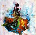 """""""La Gitane"""" Acrylique et encre sur toile  60 X 60 cm"""