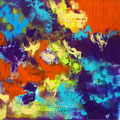 """""""Grande Impression Colorée"""" Acrylique sur toile - 80 x 80 cm"""