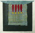 o.T., 2008/2015, Collage über Linol-, Schablonendruck, 12,7 x 14,3 cm